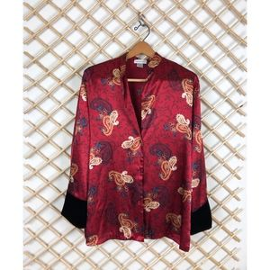 Jones New York Jackets & Coats - Red Satin Kimono Jacket With Black Velvet Sleeve